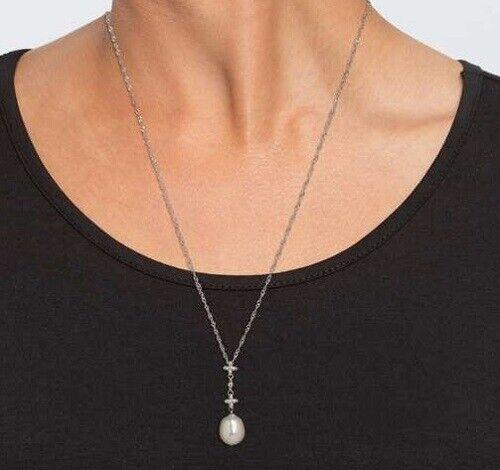 O8 Collier 925er Silber rhodiniert SWZ-Perle natural Weiß  | | | Große Auswahl  | Umweltfreundlich  | Neue Sorten werden eingeführt  b51b4e