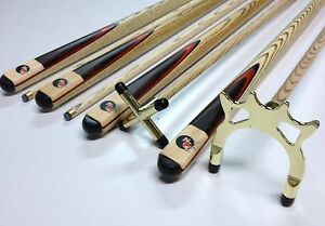 Full-Ash-WOODEN-POOL-SNOOKER-BILLIARD-CUE-SET-BRASS-Cue-Rest-amp-Spider-2x-Cues