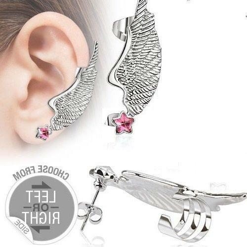 Earring Double 316l Surgical Steel Angel Wing Ear Cuff with Star Cz Stud Left