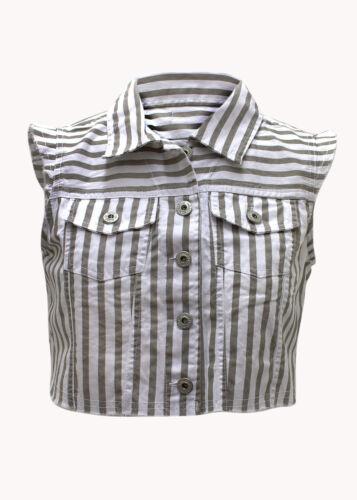 Womens  Stripe Print Denim Sleevless Waist Coat Crooped Ladies Top Size 8-14