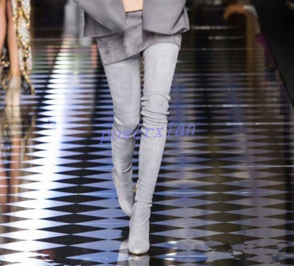 Zapatos De Cuero Mujer Tacón alto la encima de muslo la alto rodilla alta botas Gamuza Strech Slouch 10 89b172
