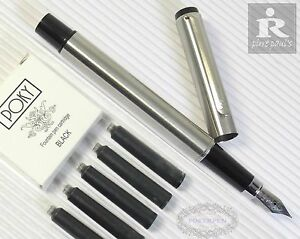 5 POKY cartridges BLACK Pirre Paul's F828 Fountain Pen M nib stainless steel Business & Industrial