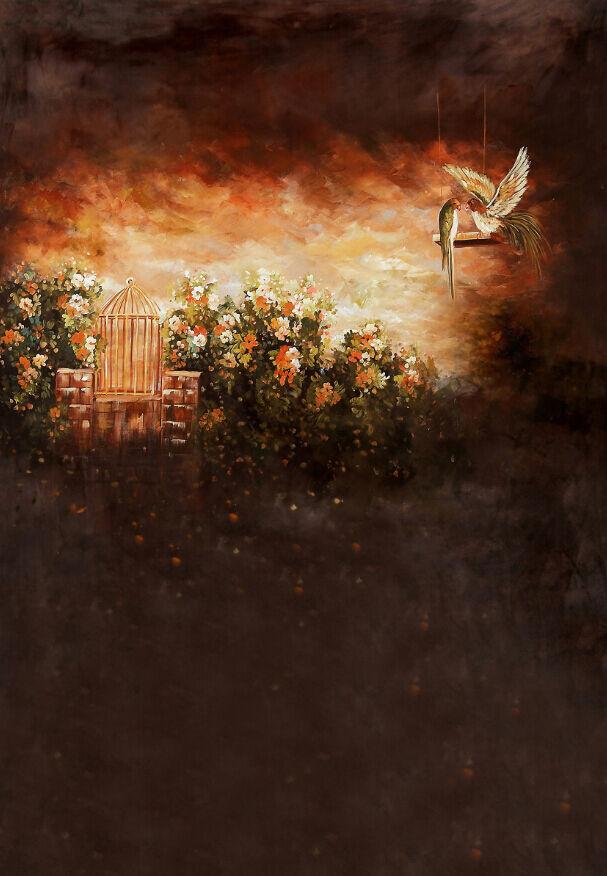 3D Die vögel, blumen 25443 Fototapeten Wandbild Fototapete BildTapete Familie DE