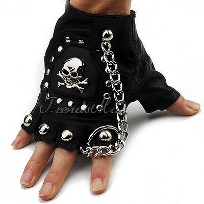 Mens PU Leather Driving Motorcycle Biker Half-finger Gloves Skull Studs (1 PAIR)