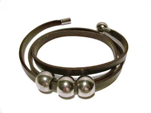 Unisex Bracciale in Pelle Marrone Avvolgente in Pelle con chiusura in acciaio inox magnetico
