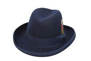 M Men/'s Godfather Dress Hat GF-102 Solid Navy Blue Size S XL 100/% Wool L