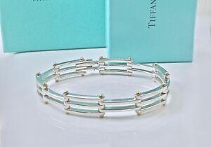 Tiffany & Co  Silver 18k Gold Gate Link Gatelink Bangle Bracelet