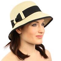 Summer Derby 1920 Flapper Bow Soft Cloche Bucket Bell Shape Church Hat Natural