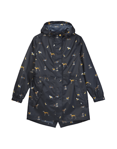 Joules Golightly Chaqueta para  mujer Packaway Impermeable Impreso-Azul Marino perros (204454)  hermoso