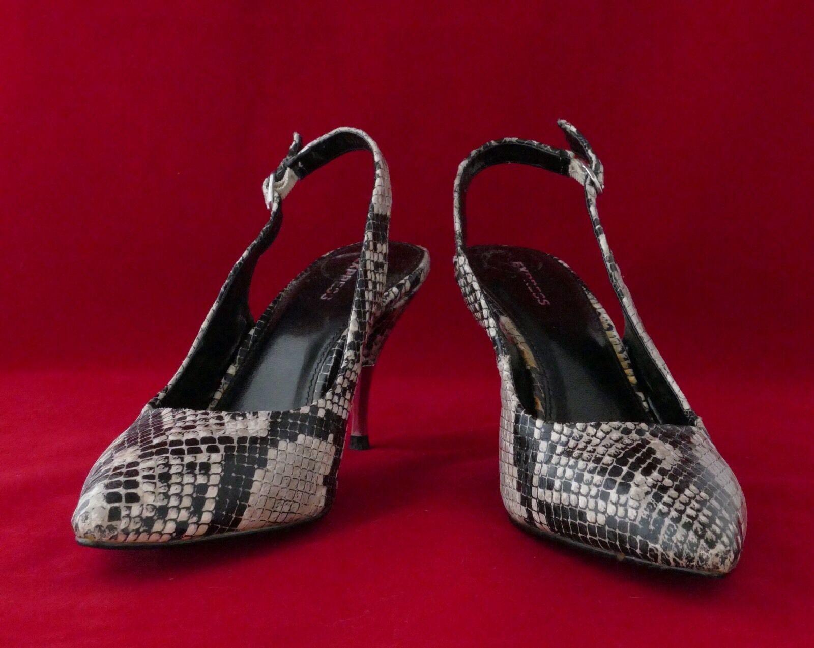 Express Women's Ladies Shoes Pump Crocodile Design Sling Back Size 6 Medium