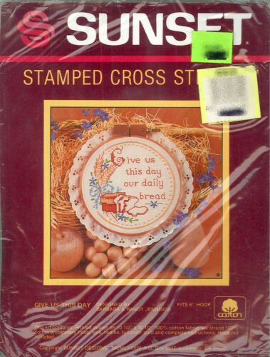 "Sunset Give Us This Day Stamped Cross Stitch Mini Kit #4427 NIP 1984 6/"" Dia"