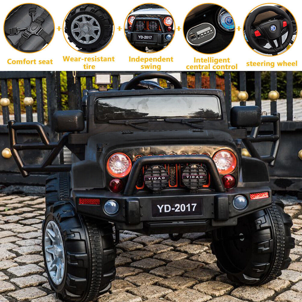 12V3 Speed Kid Ride on Electric Remote ControlAuto Jeep Indoor outdoor giocattolo nero