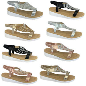 Ladies-Sandals-Womens-Diamante-Sling-Back-Open-Toe-Shoes-Fashion-Summer-New