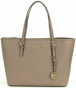 Michael Kors Saffiano Leather Dark Taupe Jet Set Travel MD Tote Purse