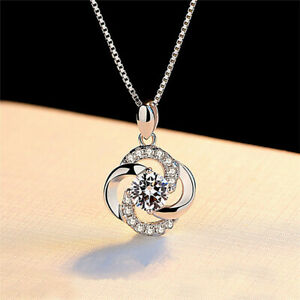 Crystal-Swirl-925-Sterling-Silver-Pendant-Chain-Necklace-Womens-Jewellery-Gift