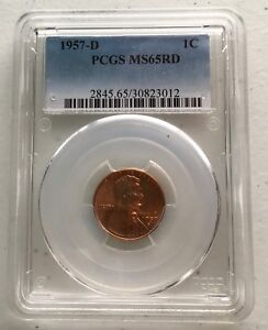 1957-D-PCGS-MS65RD-Certified-One-Cent-Lincoln-Wheat-Ear-Penny-Free-Shipping