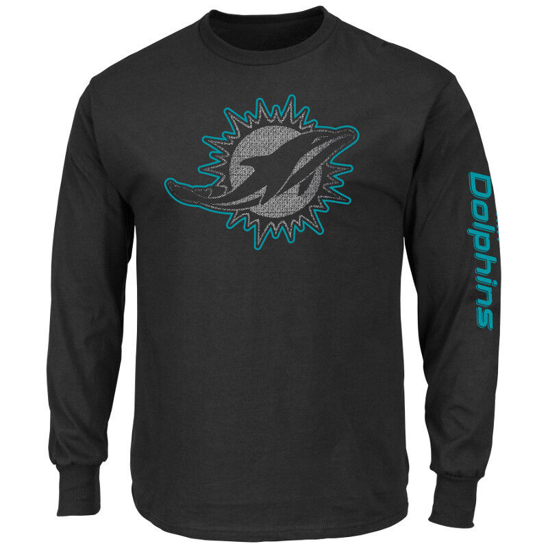 NFL FOOTBALL Long Sleeve LS-Manica Lunga Top Miami Dolphins up and over