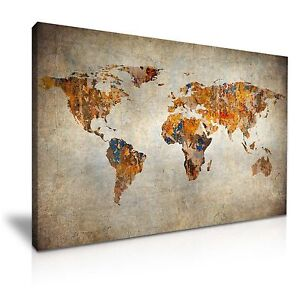 Vintage world map canvas wall art picture print 76x50cm ebay image is loading vintage world map canvas wall art picture print gumiabroncs Gallery