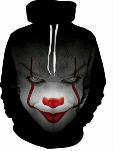 6XL Clown 3D Print Hoodie Stephen King It Pennywise Horror Movie Sweater S