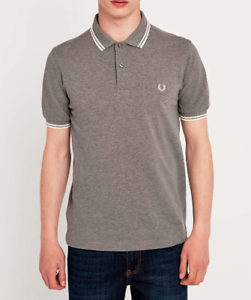 Fred Perry Twin Tip Grey Marled Polo Shirt - Brand New With Tags