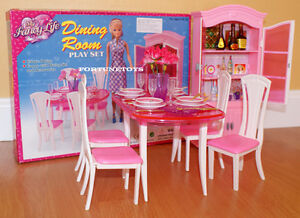 Details about NEW FANCY LIFE DOLL HOUSE FURNITURE DINING Room With Hutch  PLAYSET (24011)