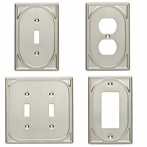 Details about Double Switch Single Switch Plate Outlet Cover Wall Rocker  Satin Nickel
