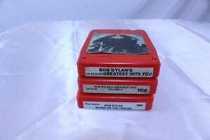 Lot of 3 Vintage 8 Track Tapes Bob Dylan - Greatest Hits Blood on the Tracks