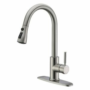 WEWE-Commercial-Single-Handle-Brushed-Nickel-Kitchen-Sink-Faucet-Pull-Down-Spray