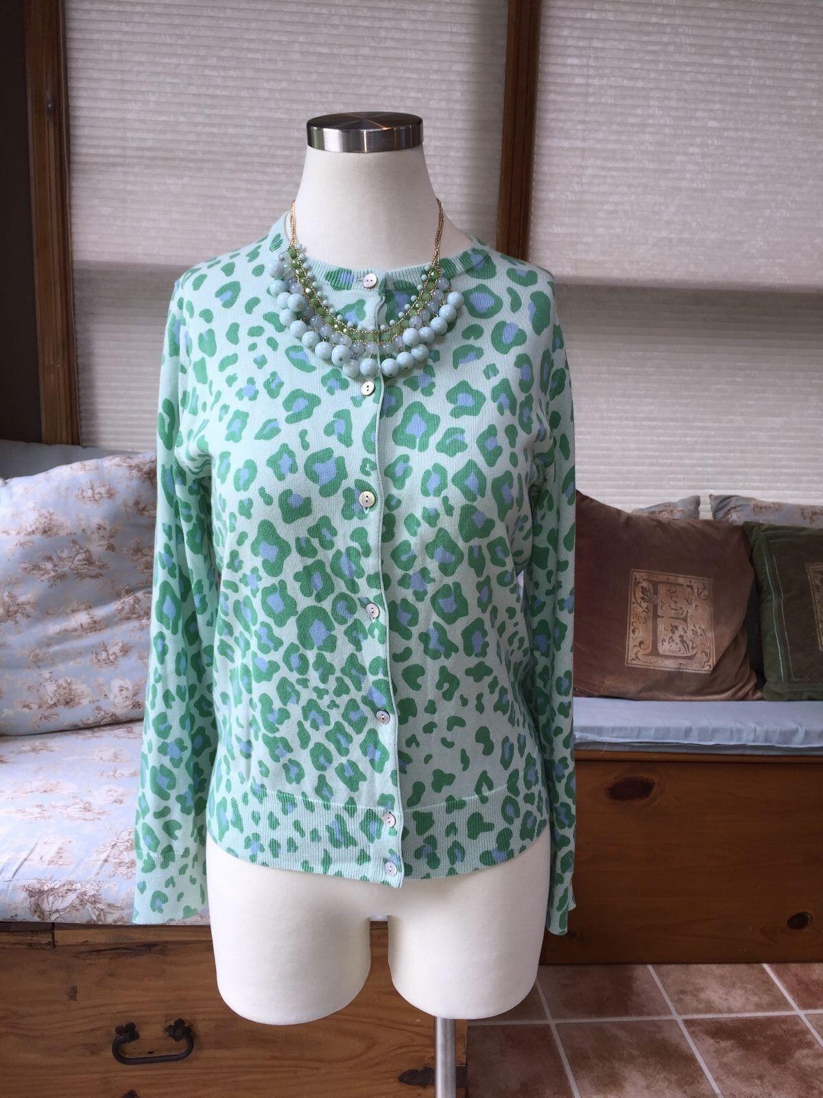 Lands' End Supima Cotton Green bluee Leopard Cheetah Cardigan Sweater Small EUC