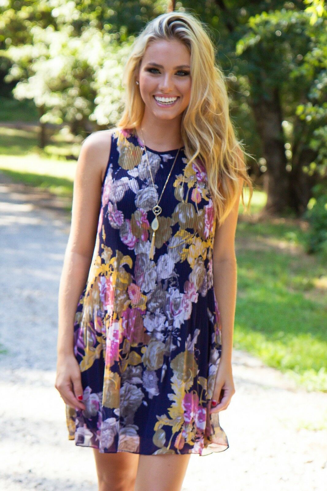Fall Into Florals Dress - Navy