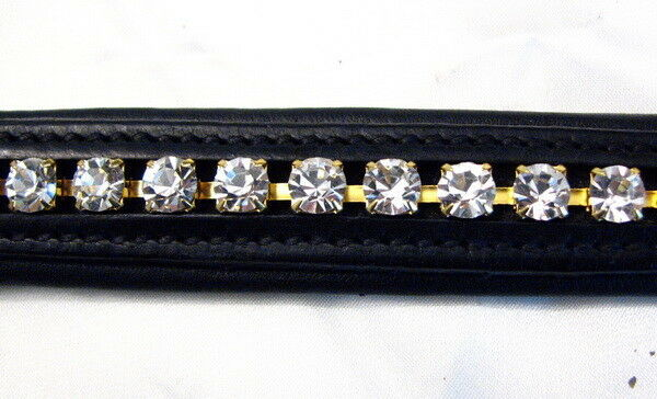 FSS 6mm Crystal CLEAR Weiß GOLD Bling Padded V Curve V Padded Browband Custom Made 1f2bc7