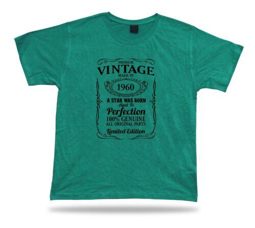 Printed T shirt tee star is born 1960 happy birthday present gift idea original
