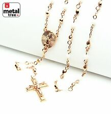 """Rose Gold White Plated 4mm Bead Guadalupe Jesus Cross 25"""" Rosary HR 700 RGWH"""
