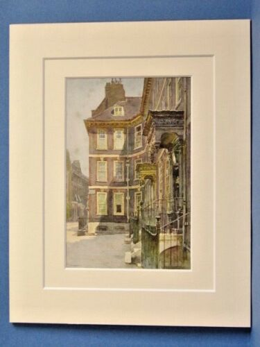 QUEEN ANNE/'S GATE WESTMINSTER LONDON VINTAGE DOUBLE MOUNTED WATER COLOUR PRINT