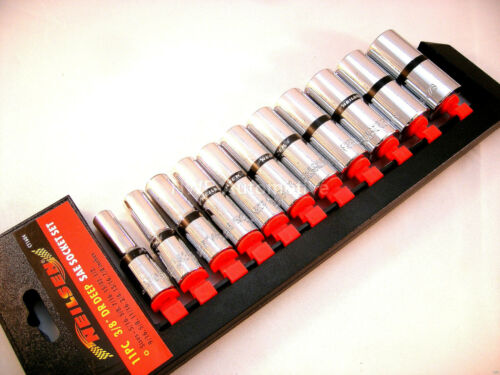 """11 Pieces NEW UK STOCK 3//8/"""" Deep Imperial Socket Set With Rail 5//16-7//8"""