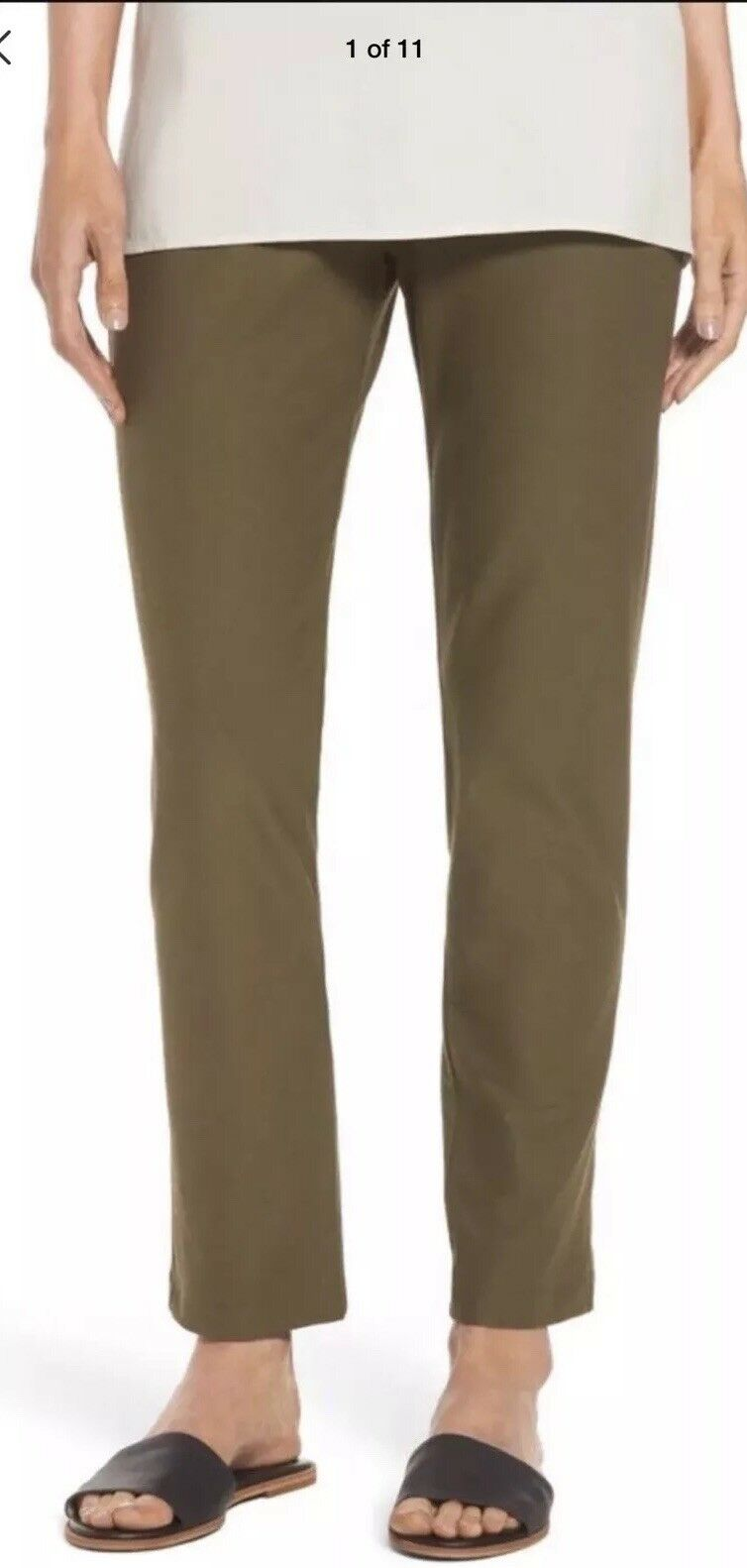 1X  NEW EILEEN FISHER OLIVE WASHABLE STRETCH CREPE SLIM ANKLE PANT