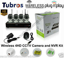 Wireless 4 HD IP CCTV Cameras (1.3MP) with 4Ch. NVR Kit with All Accessories