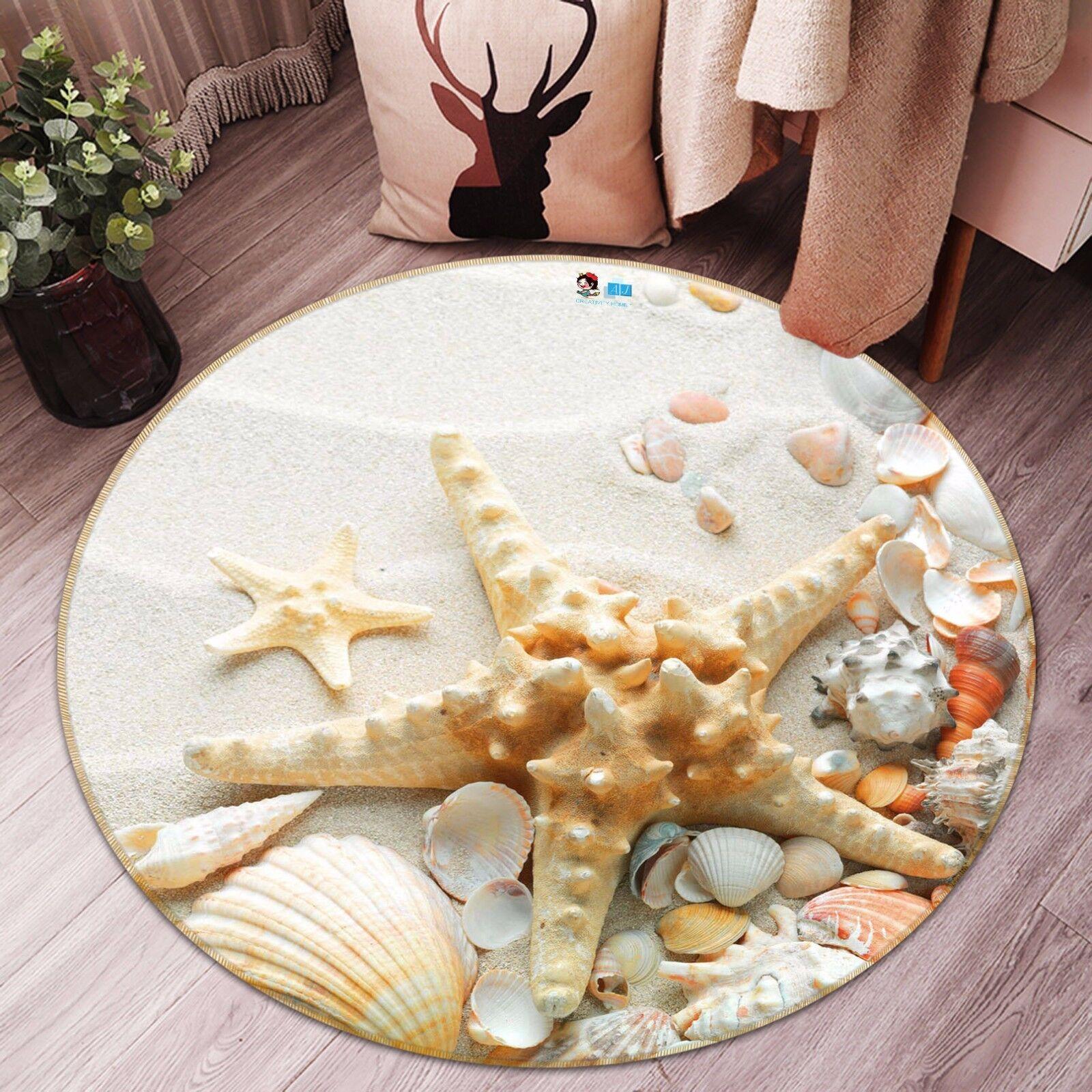 3D Starfish Shells 72 Non Slip Rug Mat Room Mat Round Elegant Photo Carpet CA