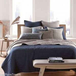 nostalgia home pick stitch navy blue gray 1 standard pillow shams quilted. Black Bedroom Furniture Sets. Home Design Ideas