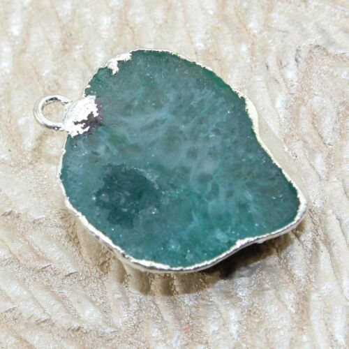 Natural Agate Geode Druzy Silver Plated Connector For DIY Pendant Jewelry Making