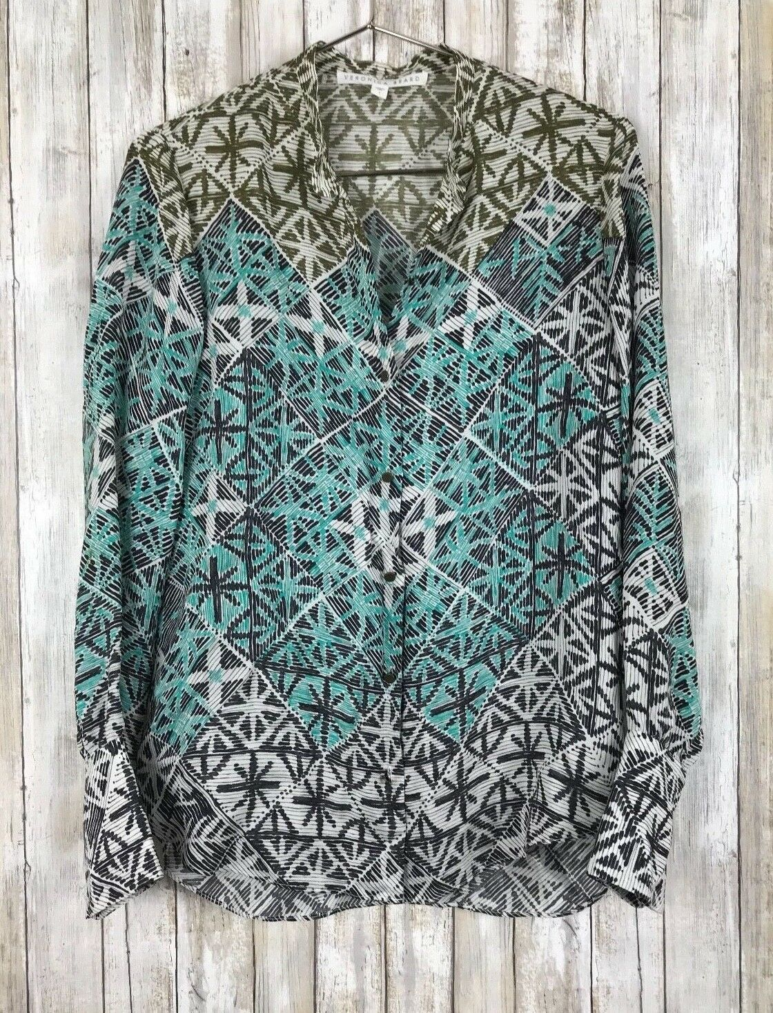 VERONICA BEARD Teal White Geo Print Silk Button Down Blouse Top 1 S Small RARE
