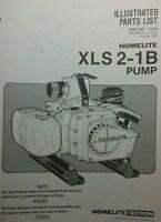 Homelite Xl-pump Parts Manual 8pg Xls 2-1b Trash Pond Water Fire Suppress
