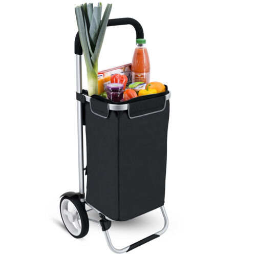 Einkaufstrolley SERAVA 45L / 25kg schwarz abnehmb. Gummiräder Kühlfach Alu klapp