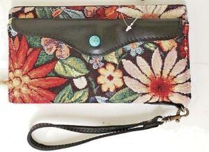 Patricia-Nash-Valentia-Snap-Wristle-Leather-Cotton-Burton-Tapestry-Wallet-NWT-B7