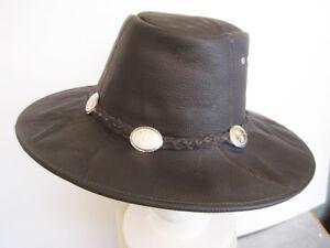 Dark-Brown-100-Leather-Western-Cowboy-Hat-Leathe-concho-Band-Leather-medium
