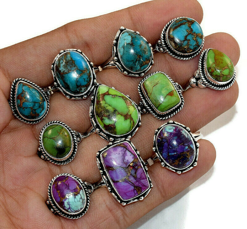 20 Pcs. New Lot Natural Mix Copper Turquoise 925 Silver Plated Rings Jewelry