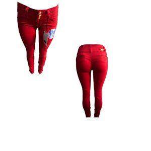 Tush Push Up Colombiano Stretch Rojo Levanta Cola Jean Ajustados De Cintura Alta Ebay