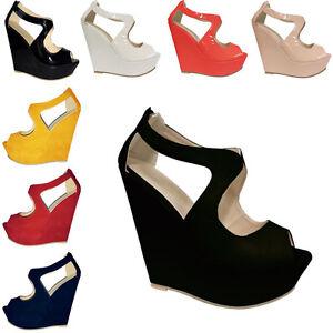 Ladies-Womens-High-Heels-Faux-Suede-Platform-Open-Toe-Wedges-Shoes-US-Size-4-11