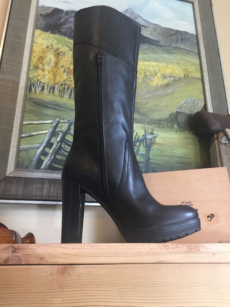 Summit White Mountain Tall Black Leather Erie  Boots Italian Leather 40 Mint
