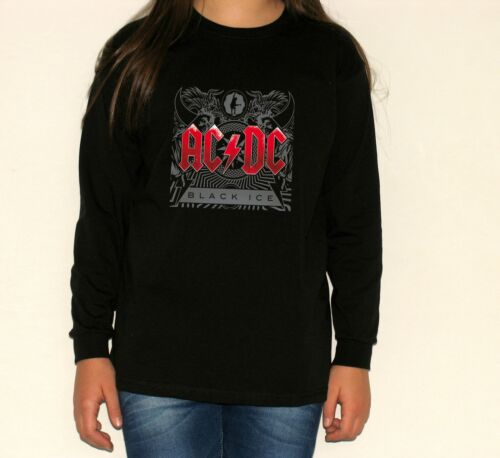 acdc black ice RED t-shirt long sleeve BLACK t-shirt for children kid size:3-11y